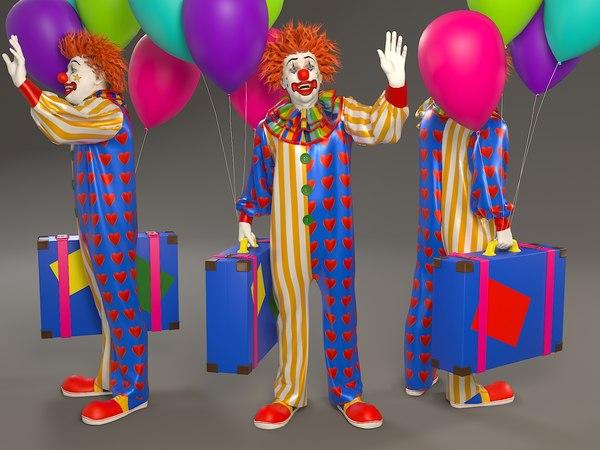 male clown 002 modeled 3D model