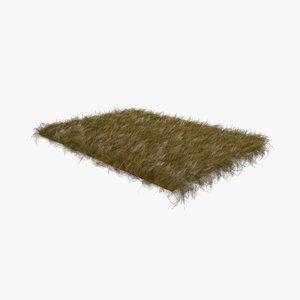 brown fur sheepskin carpet rug 3D model