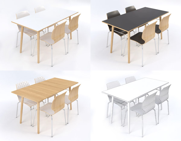 3D table chairs boston style model