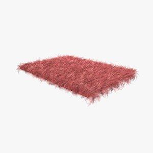 pink fur sheepskin carpet rug 3D model