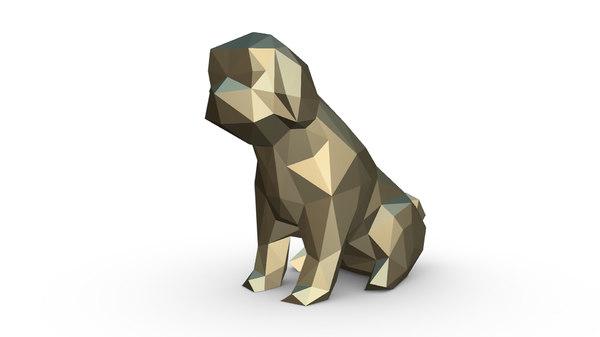 3D printed shih tzu figure model