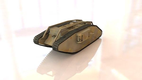 female military tank 3D model