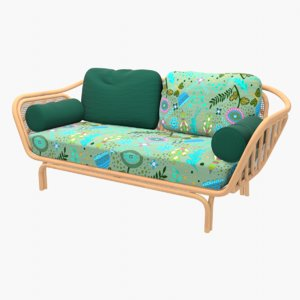 3D couch rattan model