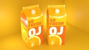 orange juice carton model