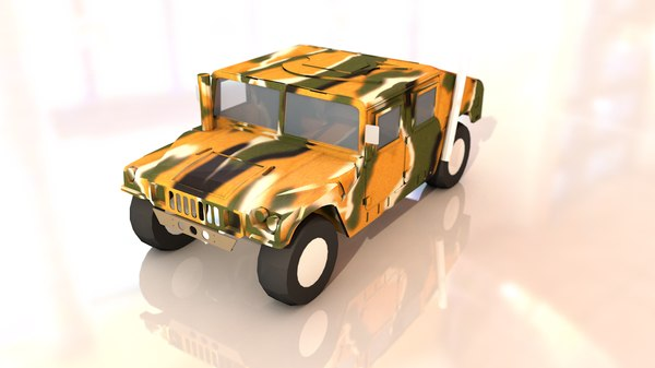 3D m1025 military hummer vehicle
