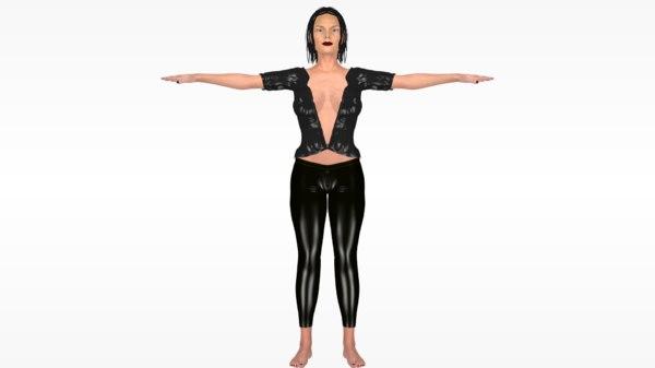 3D women tight suit female animation