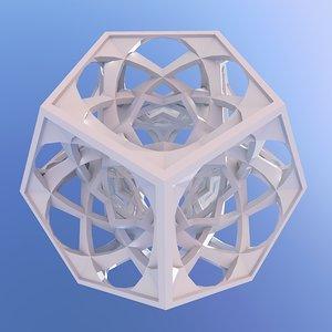 3D dodecahedron sculpture art model