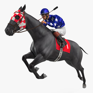 black racing horse jumping 3D model