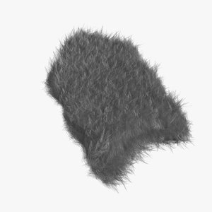 grey fur sheepskin carpet rug 3D