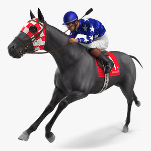 3D model running black racing horse