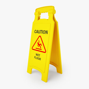 caution wet floor safety 3D model