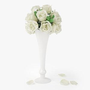 3D model rose bouquets flowers vase