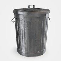 3D galvanized steel trash lid model