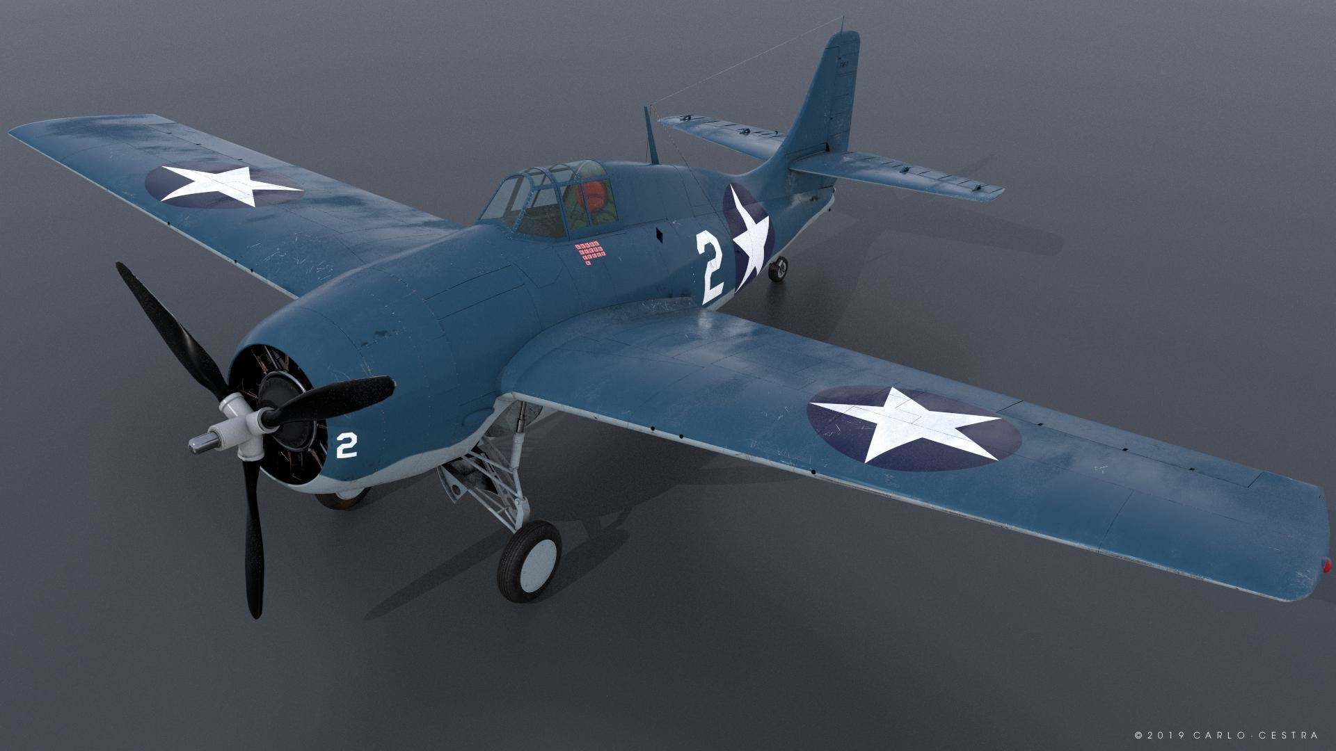 3D grumman wildcat fighter aircraft