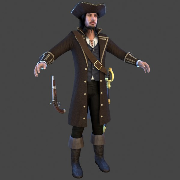 3D pirate man hat model