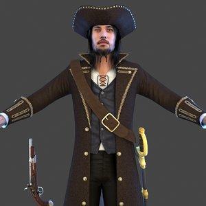 3D pirate man hat model