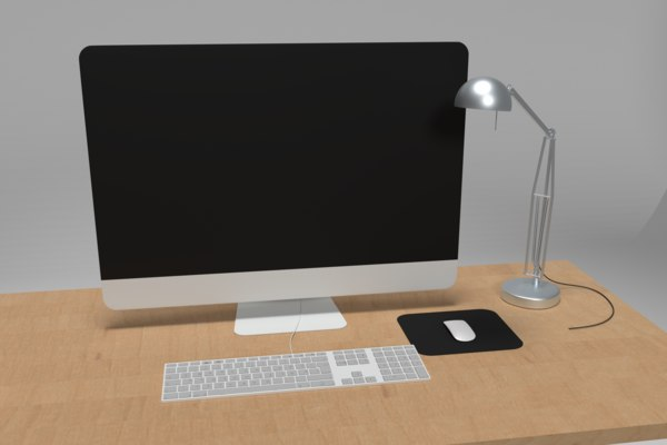 3D office desk set modeled model