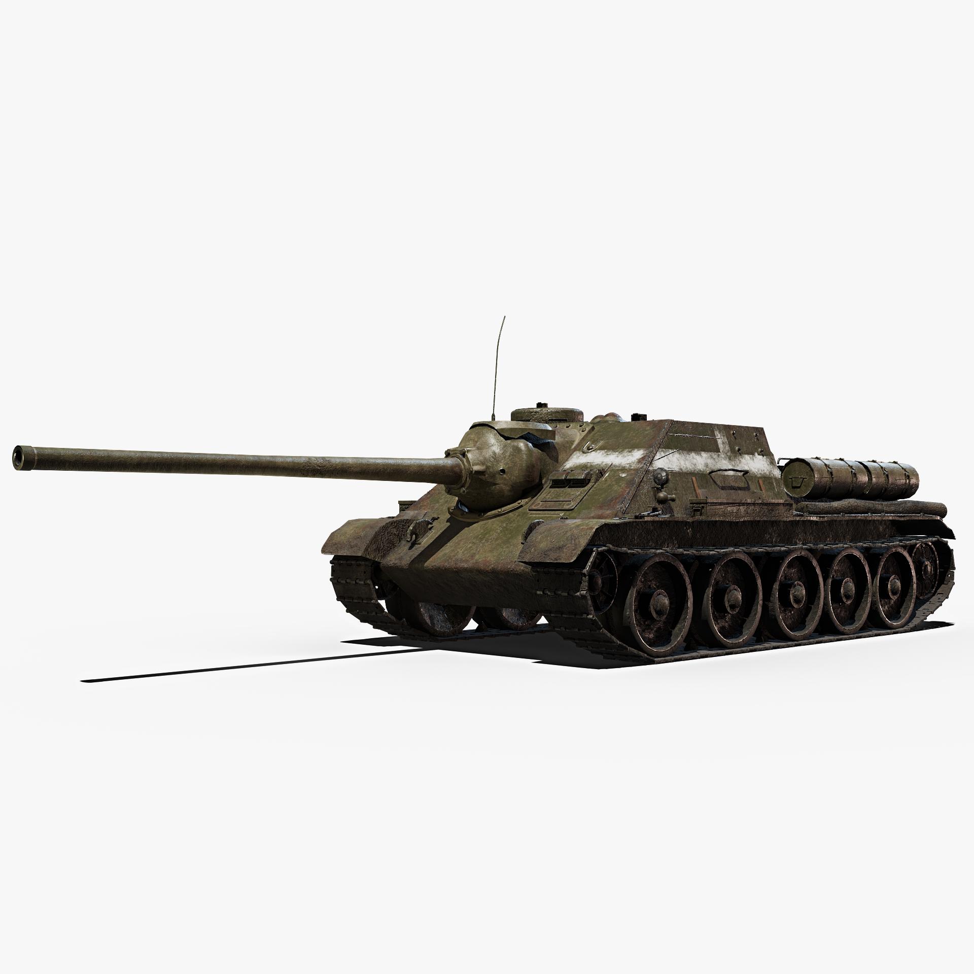 soviet tank su-100 gameready 3D