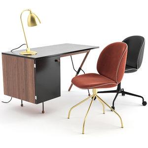 3D beetle chair gubi table lamp