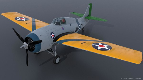 3D model f4f-3 wildcat - grumman