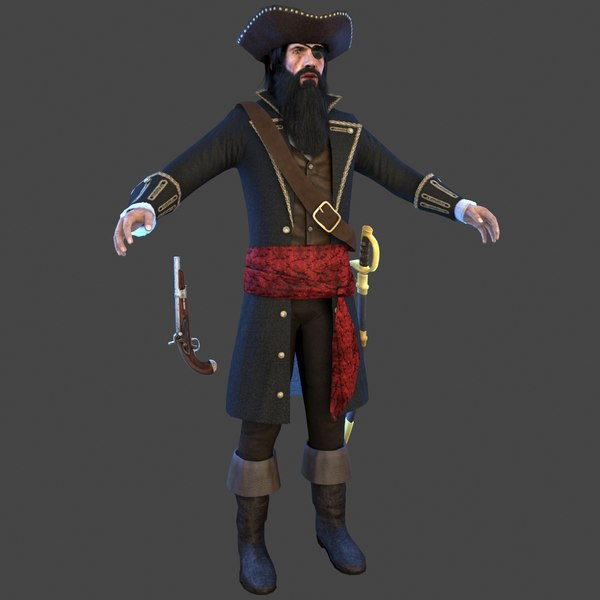 3D pirate captain man model