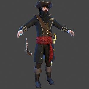 3D pirate captain man model