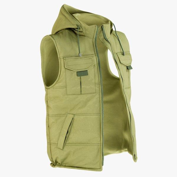 3D realistic vest green
