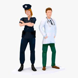 3D model style doctor policewoman sample
