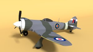 3D model hawker tempest airplane