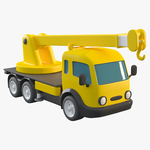 3D cartoon toy truck crane model