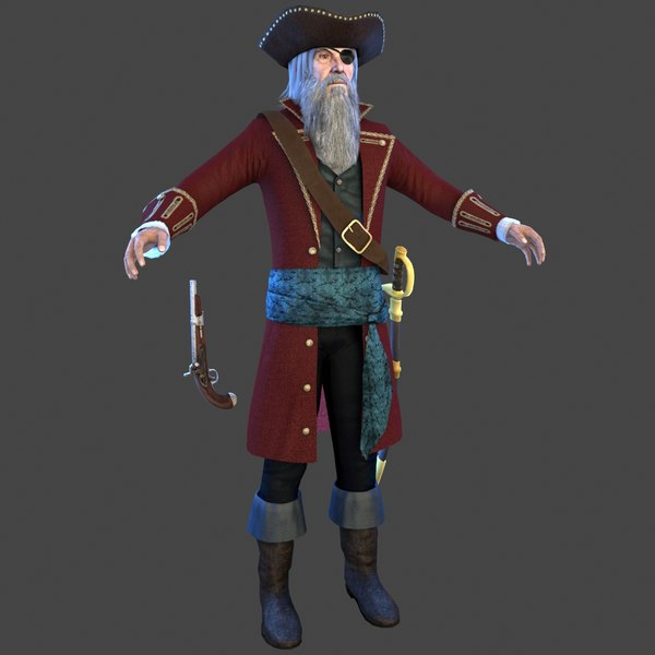 pirate captain man 3D model