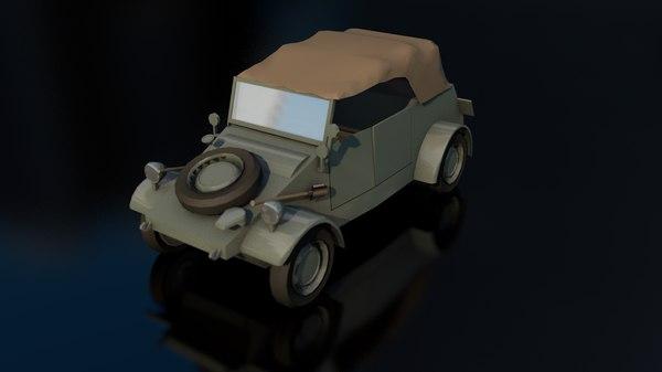 3D kubelwagen light military vehicle model