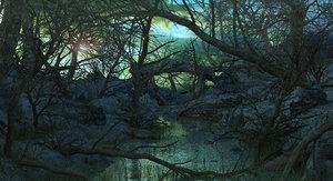 3D sci-fi swamp