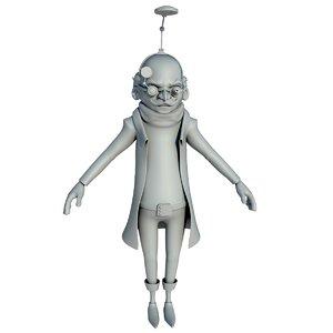 3D model professor rigging animation