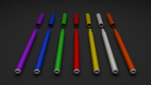 3D model coloured markers