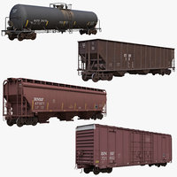 railcars box car rail 3D model