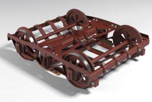 trolley wheels 3D model