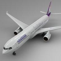 3D model airbus a330-300 hawaiian airlines