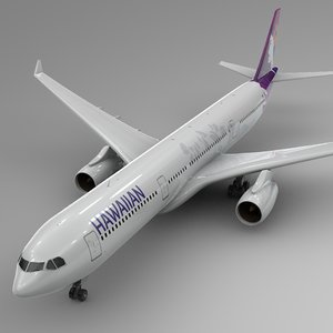 3D model airbus a330-300 hawaiian airlines