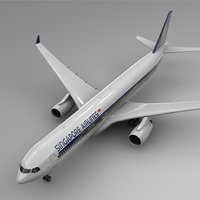 3D airbus a330-300 singapore airlines model