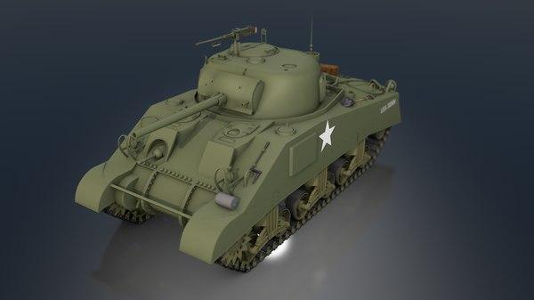 m4a3 75 w sherman tank 3D model
