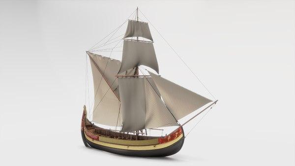 ship trade coastal 3D model