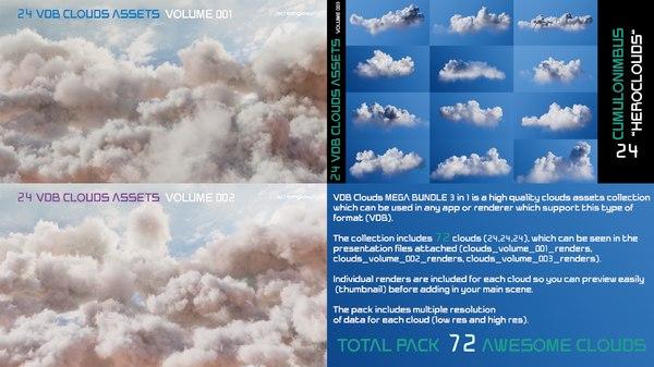 3D vdb clouds mega 3