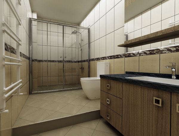 3D bathroom modern render model