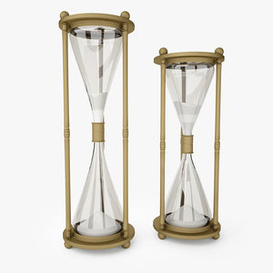 3D vintage brass hourglass