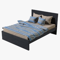 3D realistic ikea malm double bed