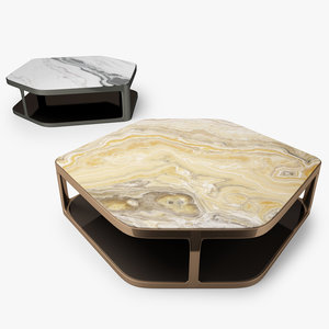 3D longhi tiles hexagonal coffee table model