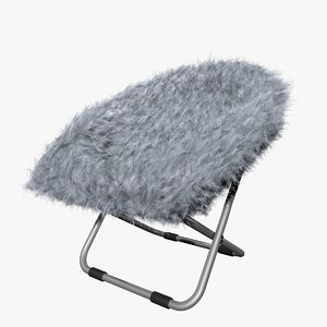 3D model blue gray fur rific