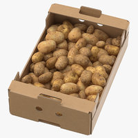 Cardboard Display Box 02 with Potatoes Game Ready