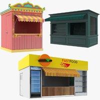 Three Empty Kiosks